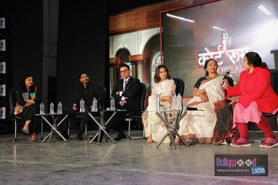 Richa Anirudha, Vikas Kumar, Vivek Narayan Sharma, Swara Bhaskar, Geeta Shroff and Rina Mukherji at the launch of COLORS Courtroom in Hindu College, New Delhi 1