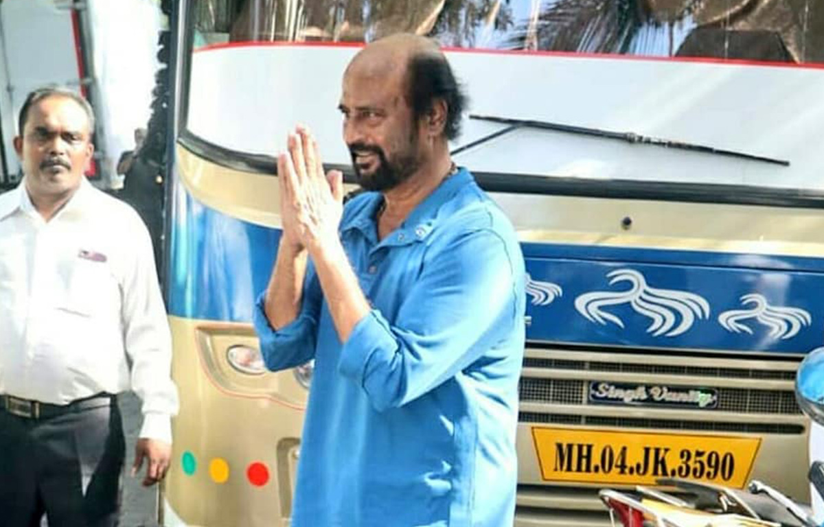 Superstar Rajinikanth greets fans on the sets of Darbar in Mumbai